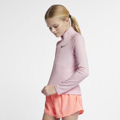 Běžecký top Nike s dlouhým rukávem a polovičním zipem pro větší děti (dívky)