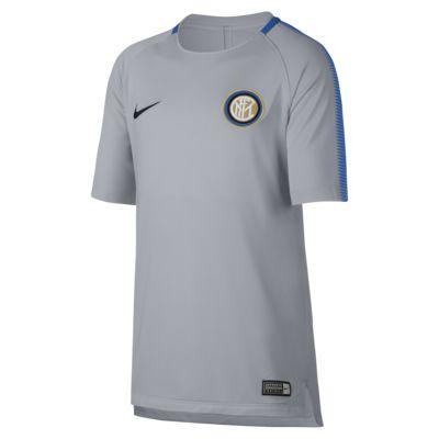 Top para fútbol de manga corta para niños talla grande Inter Milan Nike Breathe Squad