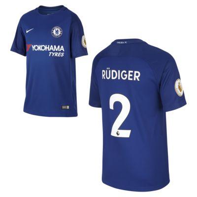 Camiseta de fútbol para niños talla grande Chelsea FC (Antonio Rudiger) de local para aficionados, temporada 2017/18