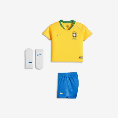 2018 Brasilien CBF Stadium Home Fußballtrikot-Set für Kleinkinder