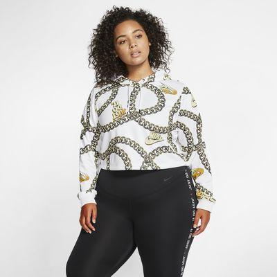 Nike Sportswear Icon Clash Women's Printed Crop Hoodie (Plus Size)