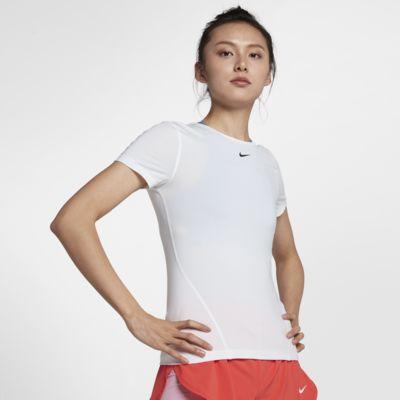 Kortärmad träningströja i mesh Nike Pro för kvinnor