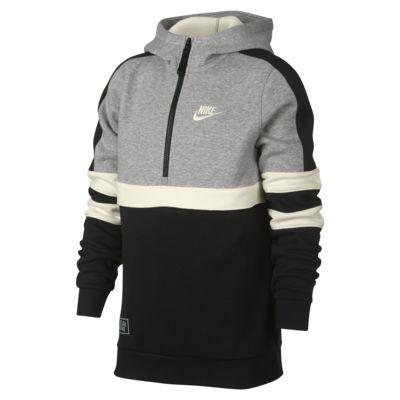 Nike Sportswear hettegenser med halv glidelås til store barn