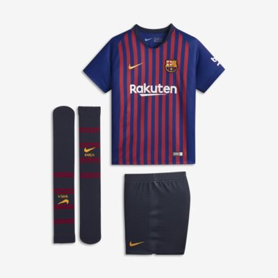 Kit de fútbol para niños talla pequeña de local Stadium del FC Barcelona 2018/19