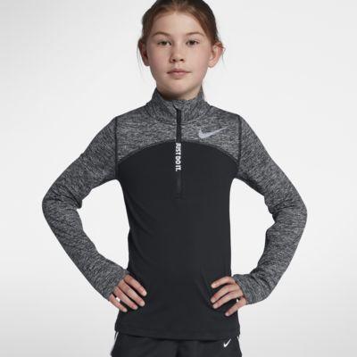 Koszulka do biegania dla dużych dzieci (dziewcząt) z zamkiem 1/2 Nike Dri-FIT