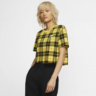 Nike Sportswear NSW Kısaltılmış Ekoseli Kadın Tişörtü