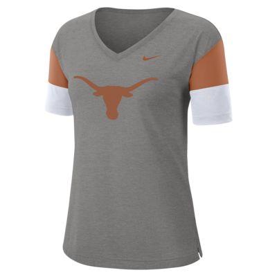 Nike College Breathe (Texas) Women's Short-Sleeve V-Neck Top
