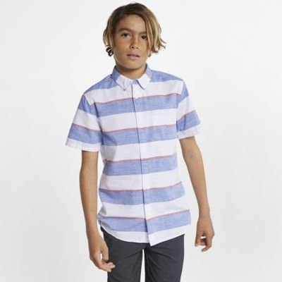 Hurley Blocked Boys' Striped Button-Down Top