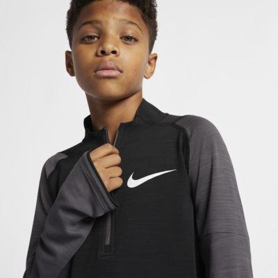 Nike Dri-FIT langermet løpeoverdel med glidelås i halsen til store barn (gutt)