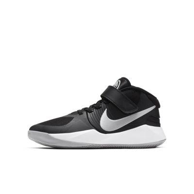Купить Баскетбольные кроссовки для школьников Nike Team Hustle D 9 FlyEase, Черный/Темно-серый/Серебристый металлик, 23179394, 12624427