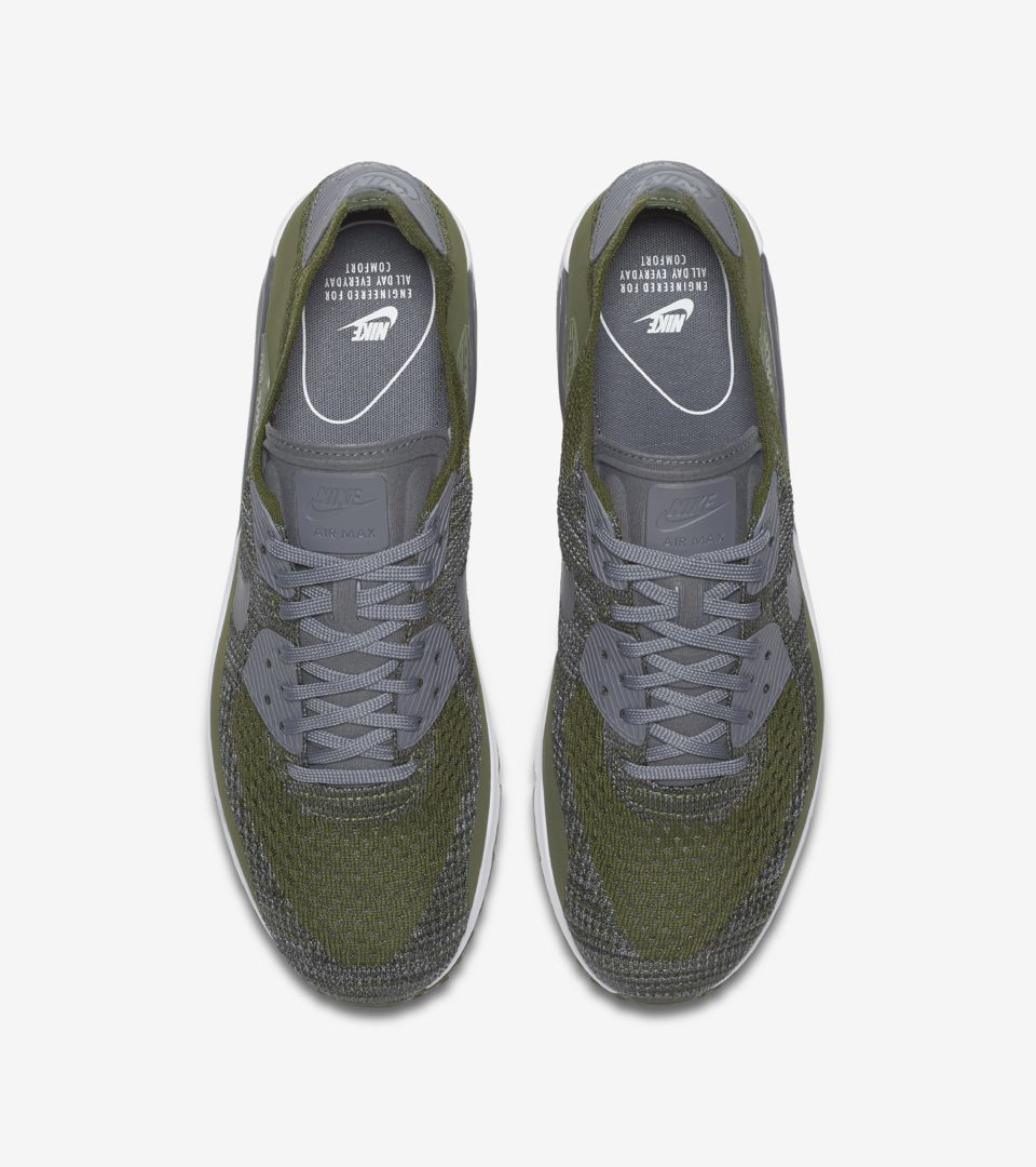 cb61b69aca03 Nike Air Max 90 Ultra 2.0 Flyknit  Rough Green   Dark Grey . Nike⁠+ ...