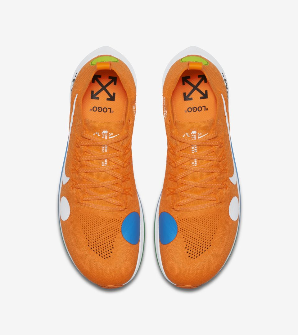 1e9b63229fc80 Nike Zoom Fly Mercurial Flyknit Off-White  Total Orange  amp  Volt ...