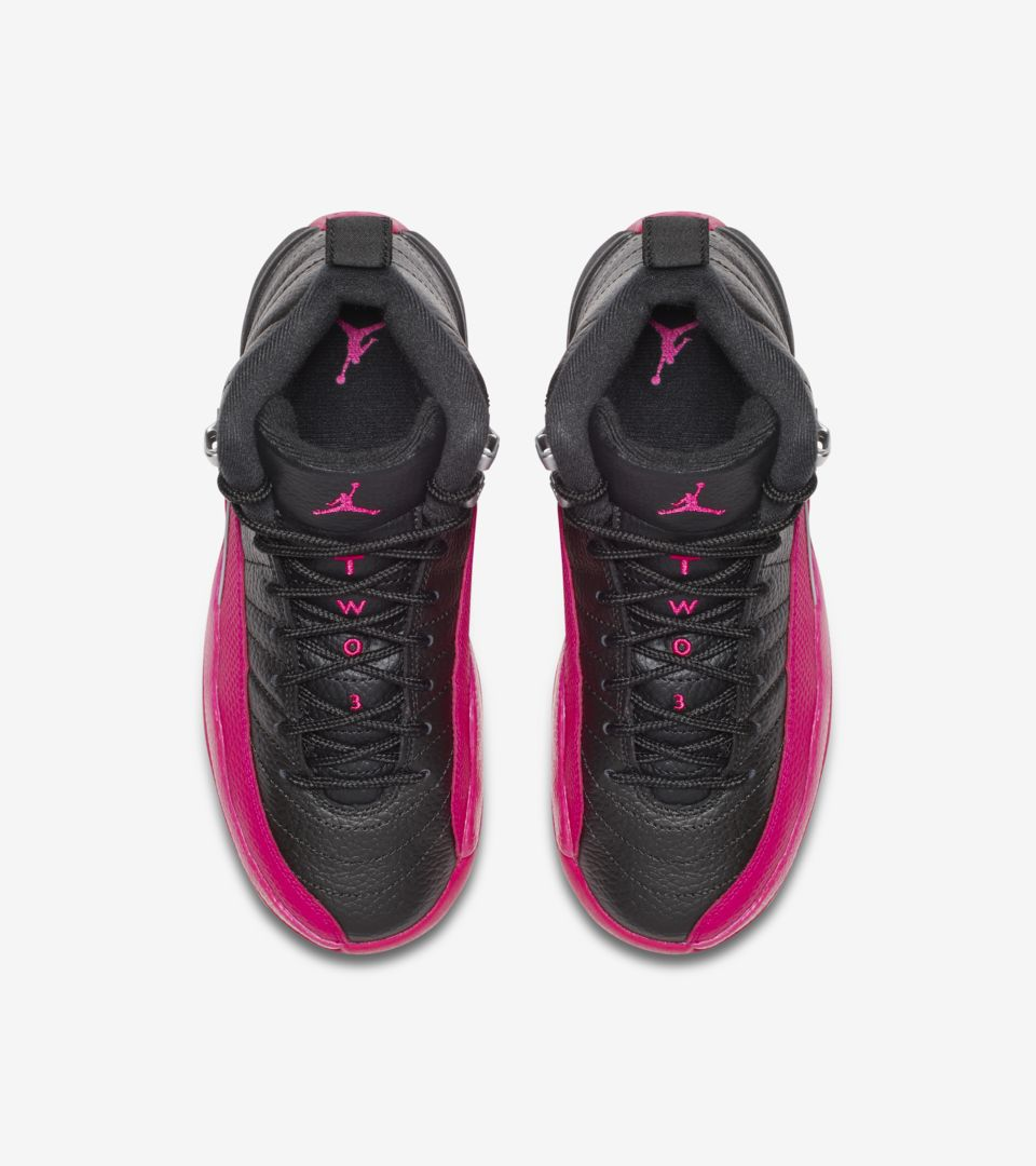 size 40 ec15b 500d6 Girls' Air Jordan 12 Retro 'Black & Deadly Pink' Release ...