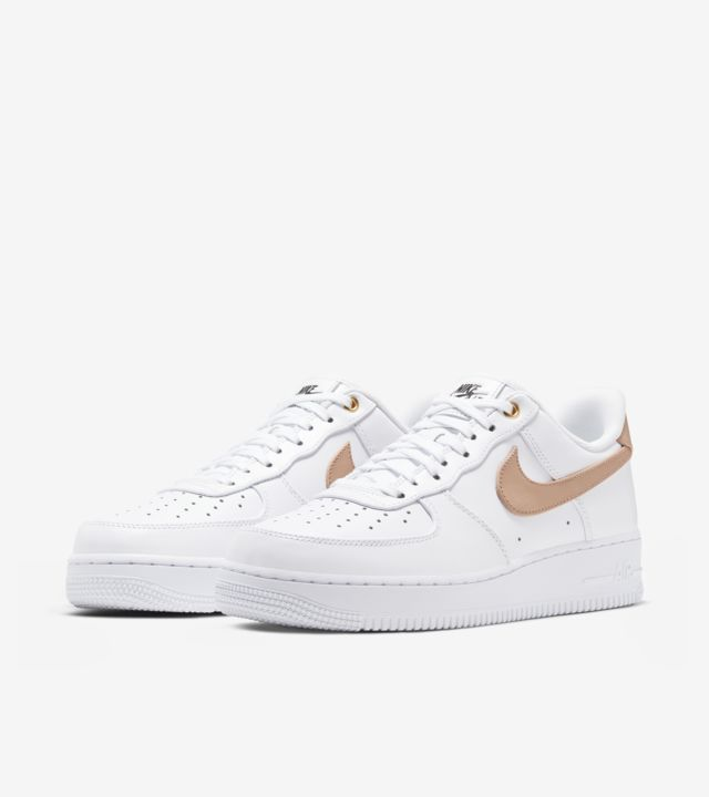 White Leather And Vachetta Tan Accents On The Nike Air Force