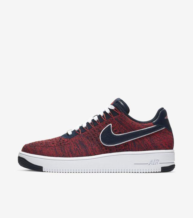 Herren Nike Air Force 1 Flyknit low Schwarz Rot Schuhe:Nike