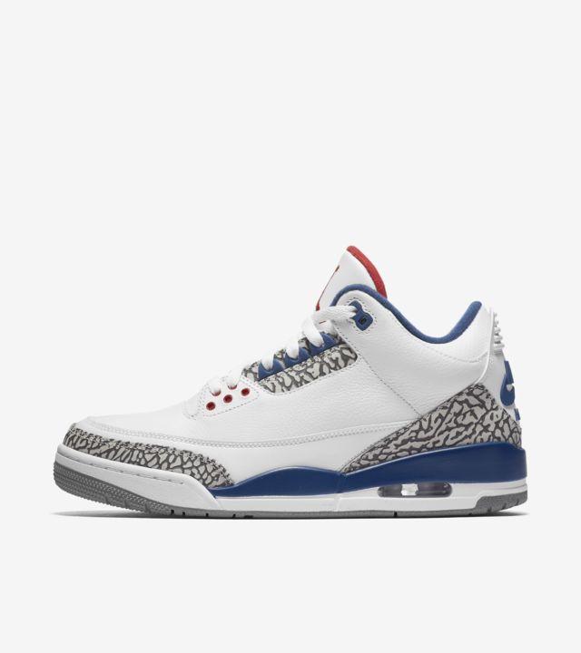Air Jordan 3 Retro OG 'White & Cement Grey & Blue'. Nike SNKRS