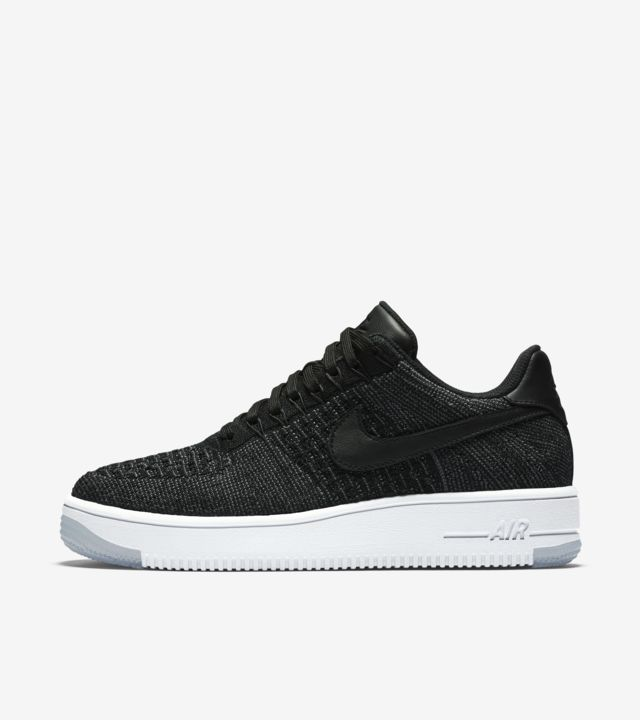 Nike Women Air Force 1 Flyknit Low (black black white)