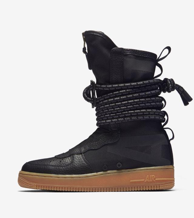 Nike W SF Air Force 1 Hi Black Black Gum Light Brown | Footshop