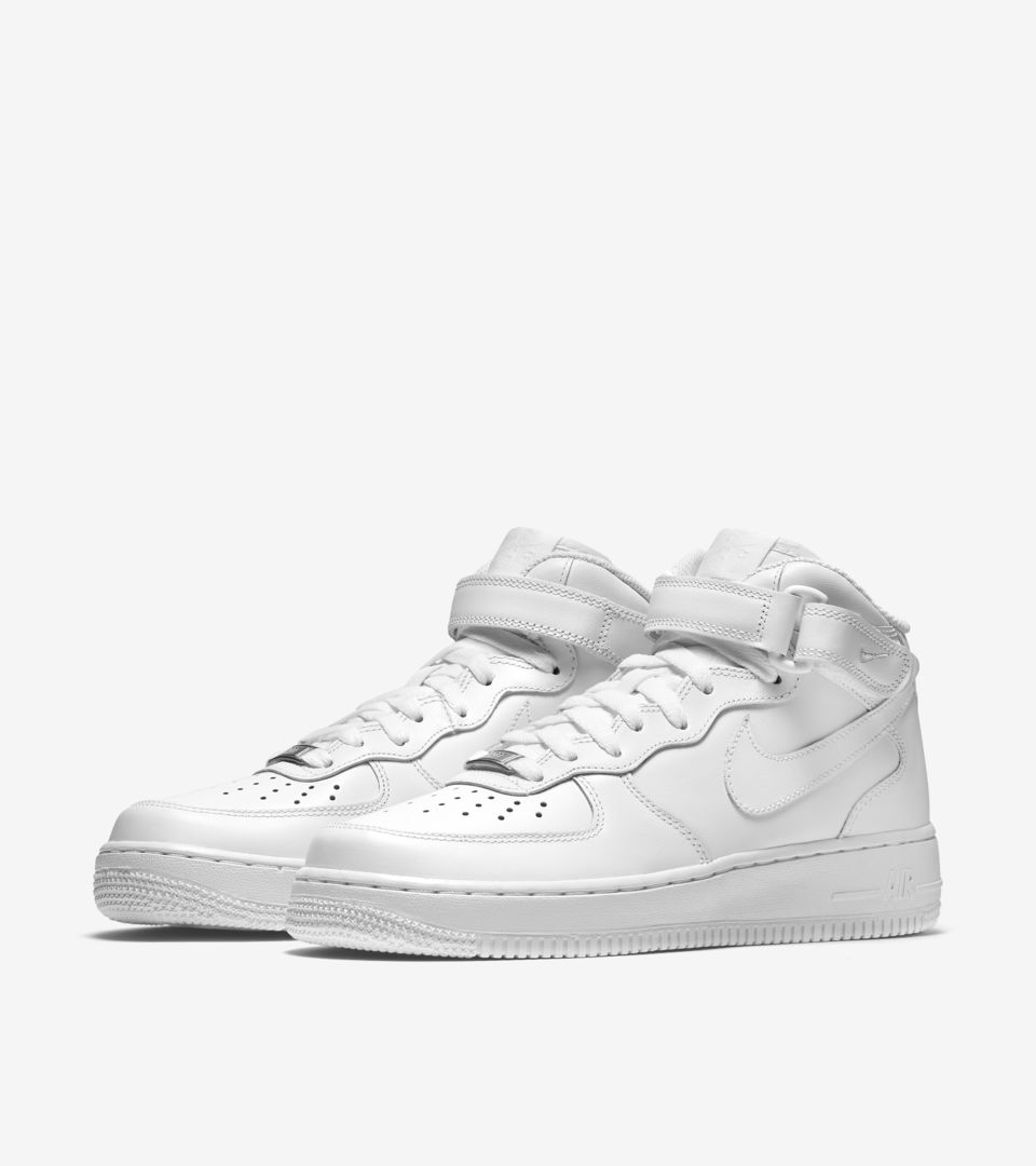 White'Nike Mid Leather Women's Nike 'triple Force 07 Air 1 nOkwP80