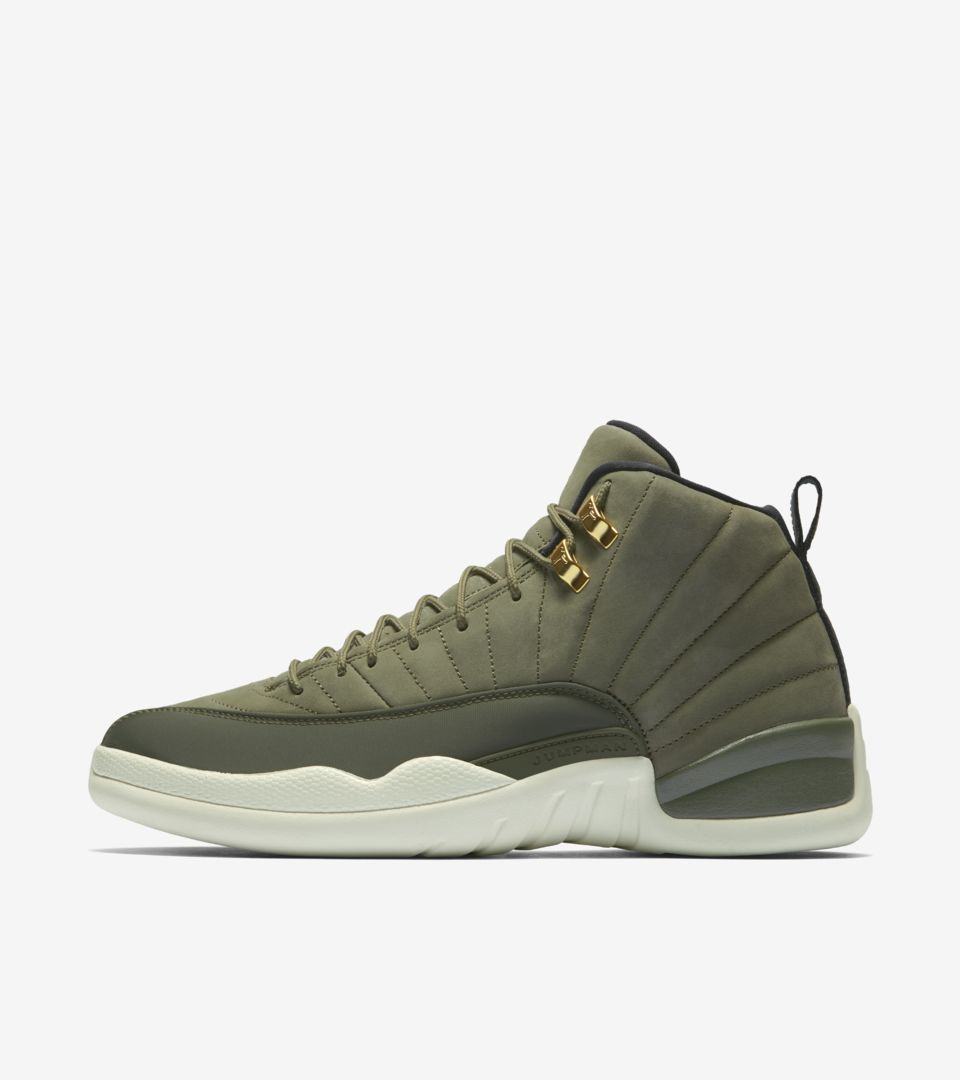 reputable site 14067 367c6 Gold  Retro Release 12 Air Date Canvas amp  Jordan  olive Metallic aPxw7q