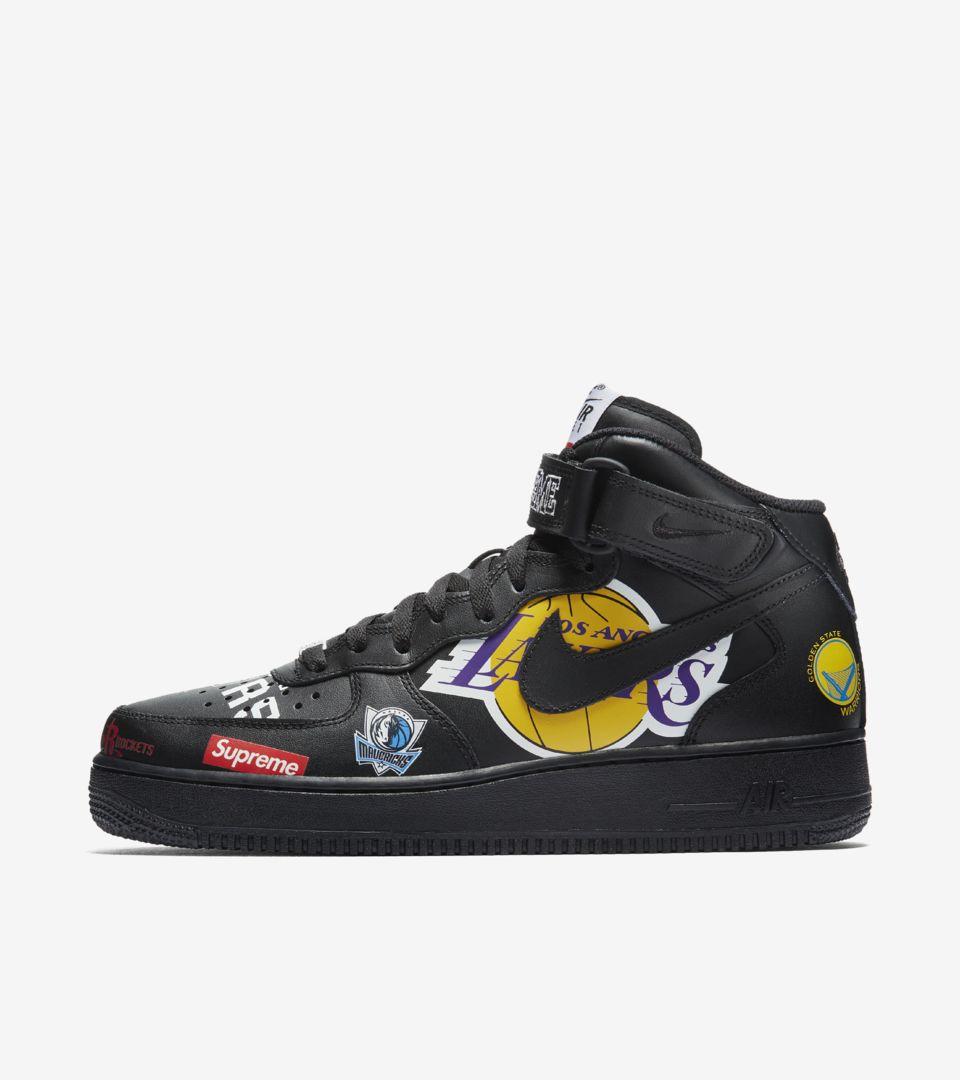 DateNike Supreme Air 1 Mid Nba Force Nike 'black' Release Nm80ywvnO