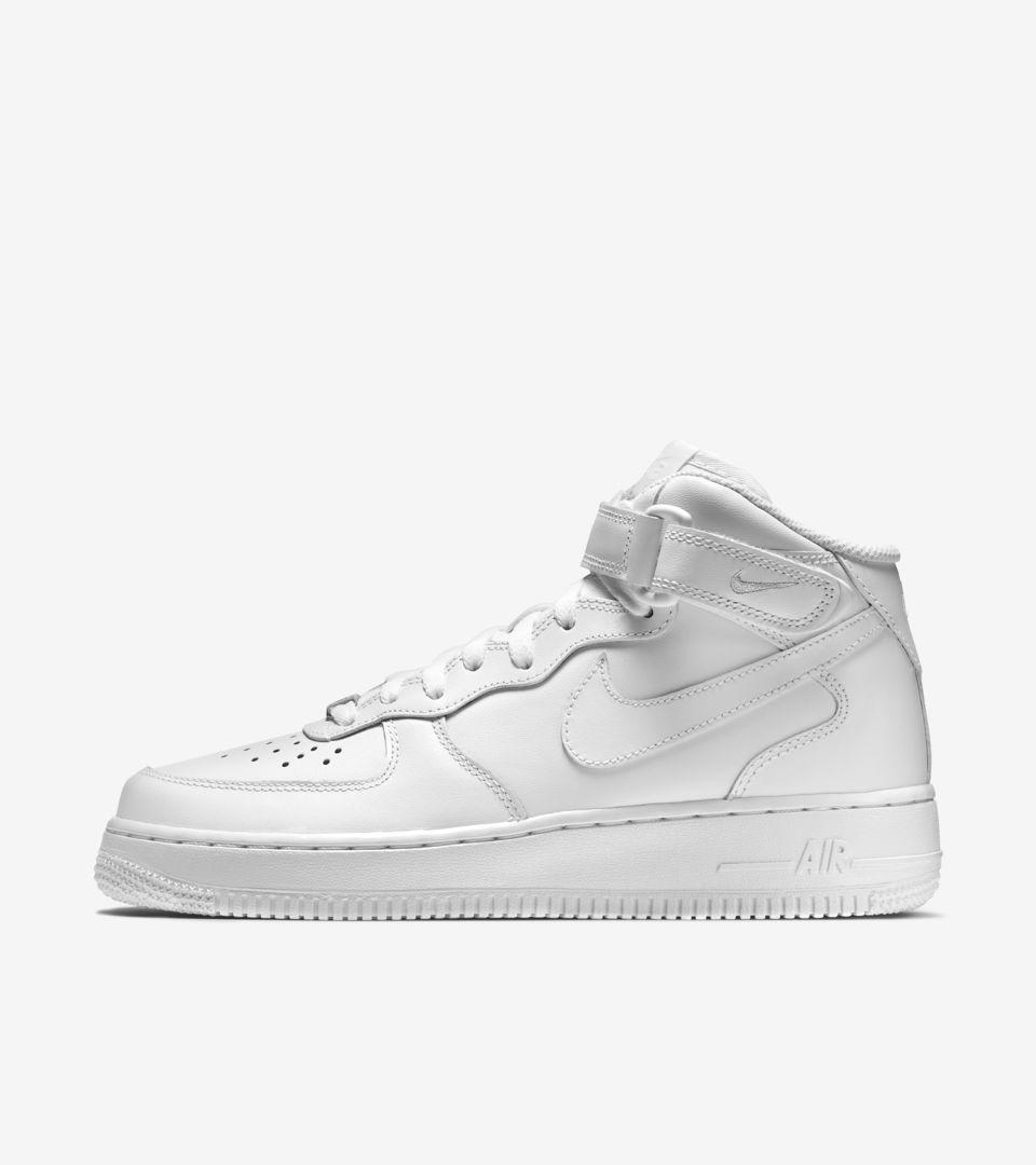 'triple Nike 1 Force Air Leather Women's Mid White'Nike 07 j4AL5R