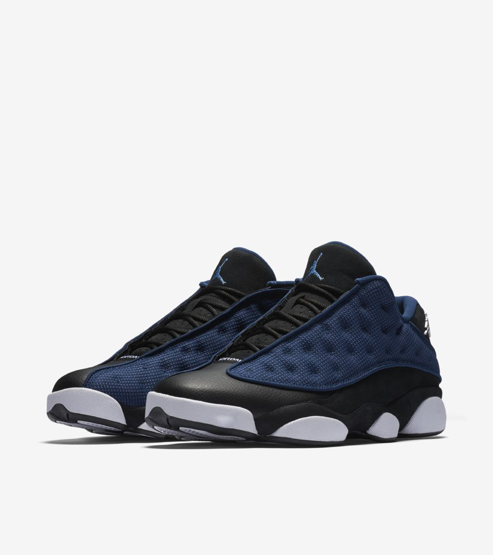 detailed look 361f6 60ad2 Air Jordan 13 Retro Low 'Black & Brave Blue'. Nike⁠+ SNKRS
