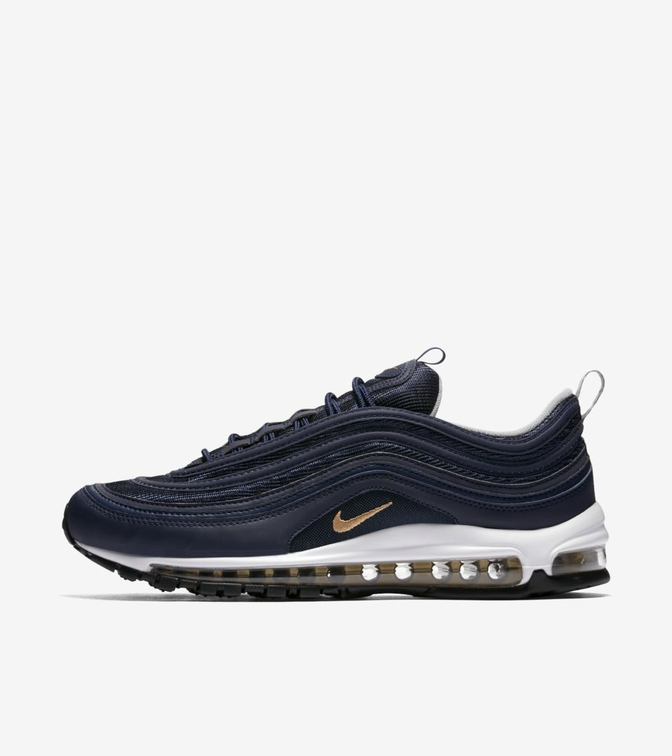5b858cf1c2d Nike Air Max 97  Midnight Navy  amp  Metallic Gold  Release Date ...