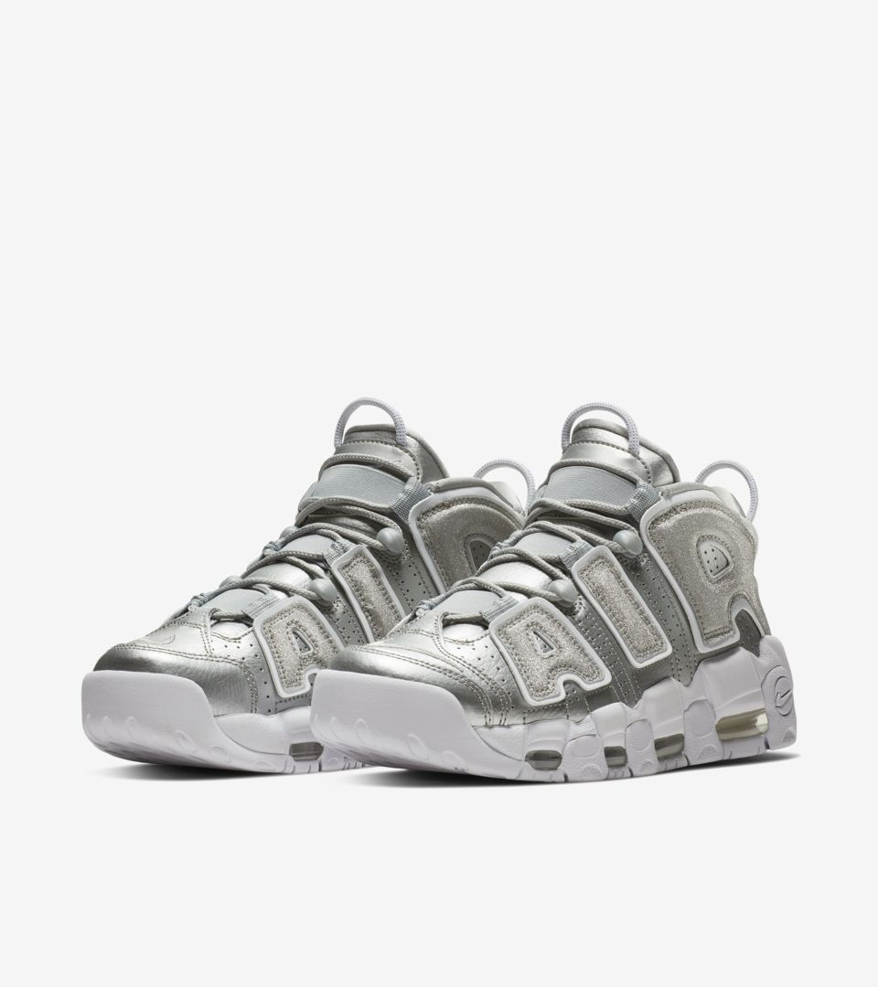 huge discount 4c07f 782b7 ... Womens Nike Air More Uptempo Metallic Silver  White ...