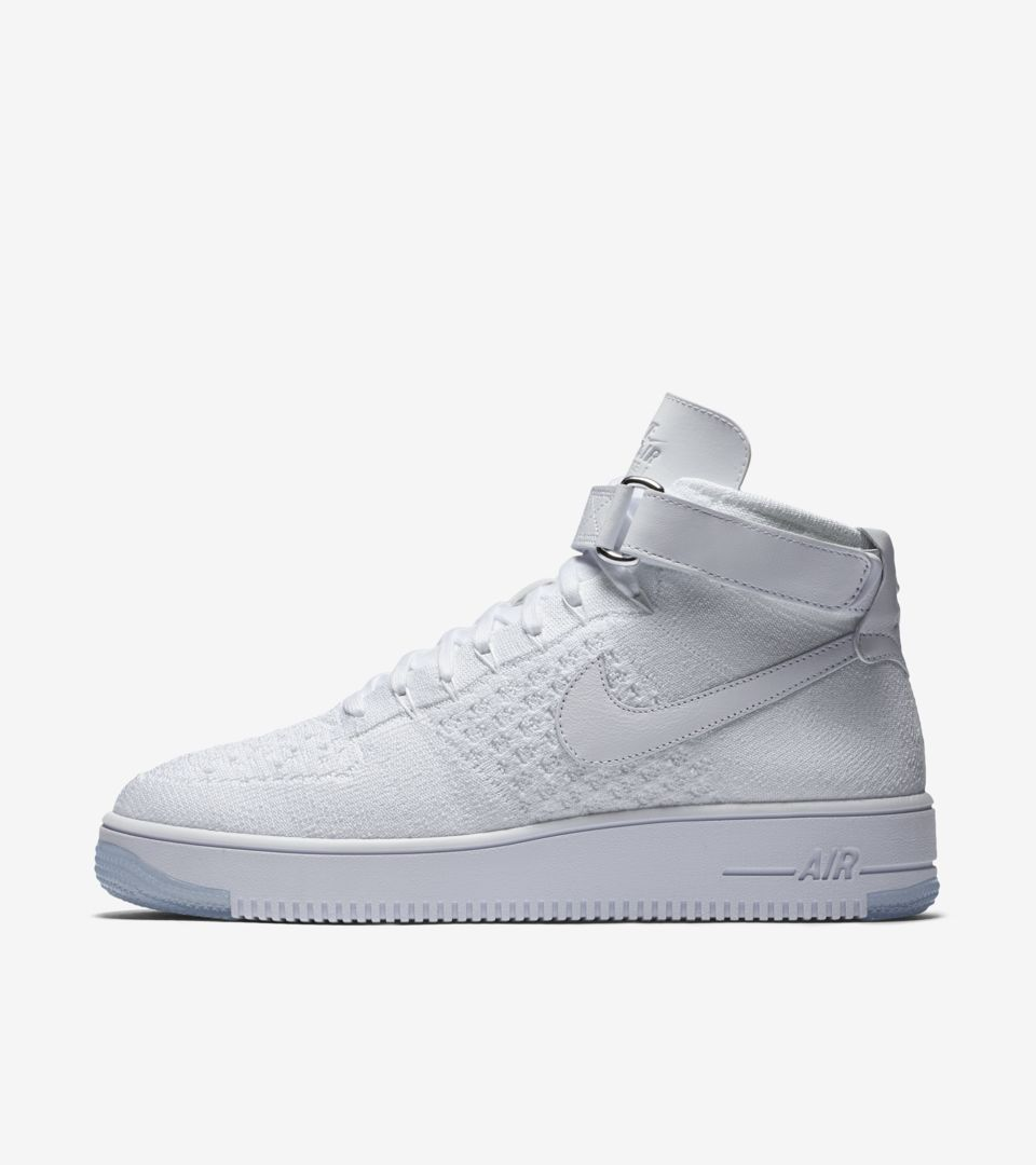 sale retailer d6704 a38a1 Nike Air Force 1 Ultra Flyknit Mid 'Triple White' Release ...