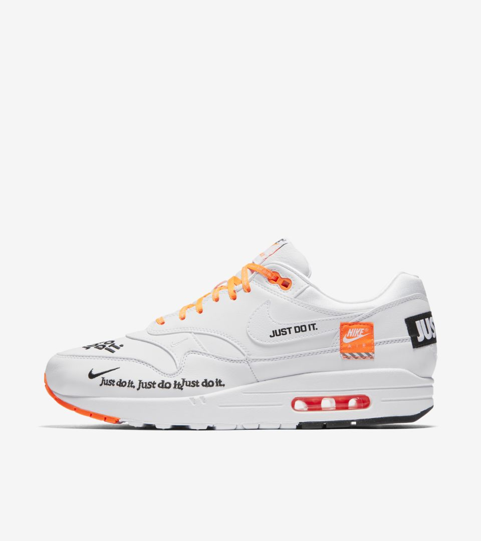 82931cf68b38 Nike Air Max 1 Just Do It Collection  White   Total Orange  Release Date.  Nike⁠+ SNKRS