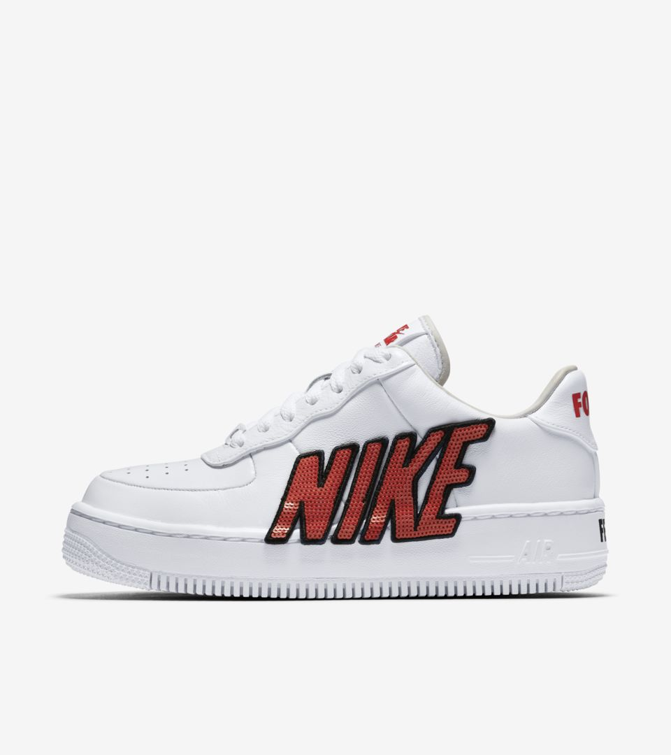 Nike Women's Air Force 1 Low Upstep 'White & Habanero Red