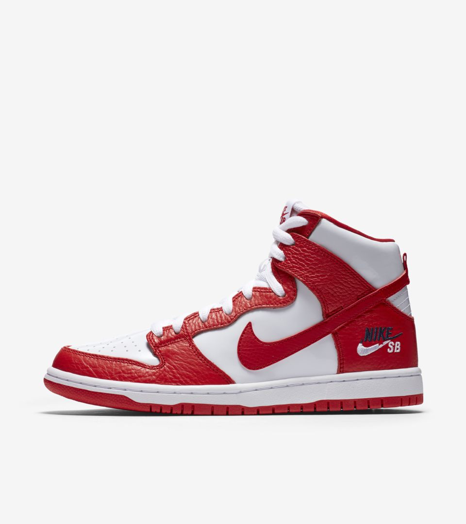 a3e313260158 Nike SB Dunk High Pro  University Red   White  Release Date. Nike⁠+ ...