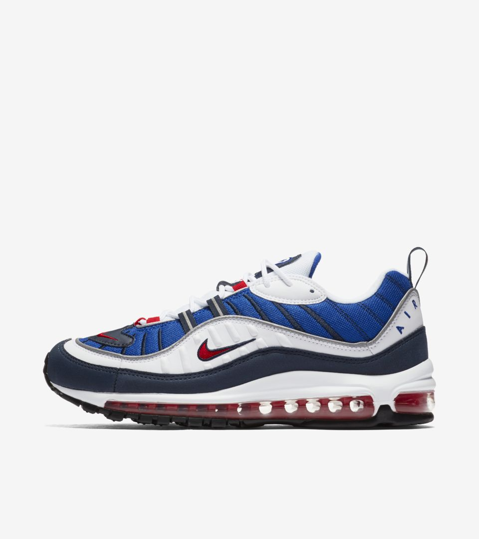 low priced 61a63 8428d Nike Air Max 98  White   University Red   Royal Blue  Release Date ...