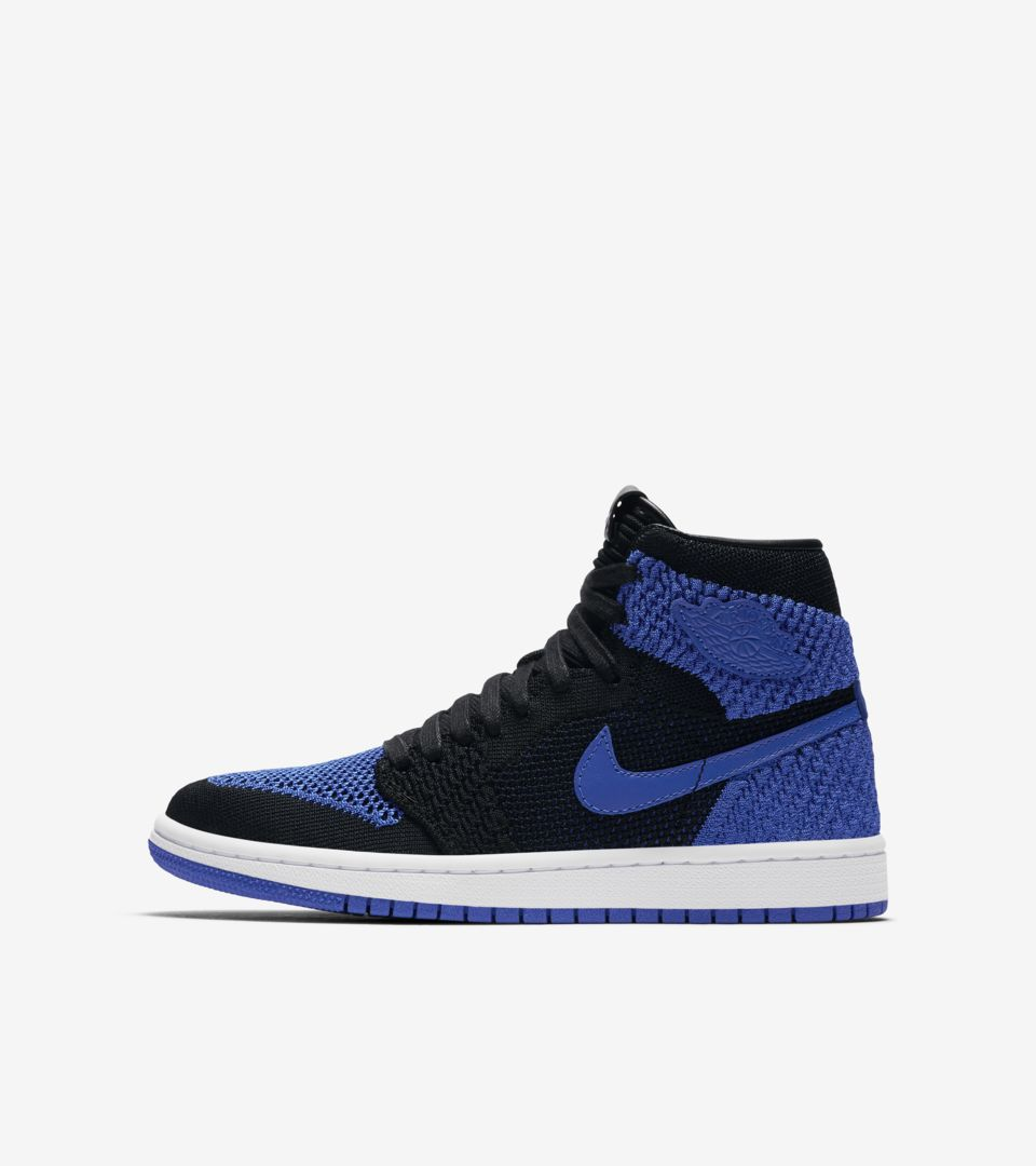 Air Jordan 1 Retro High Flyknit 'Black & Game Royal' Release