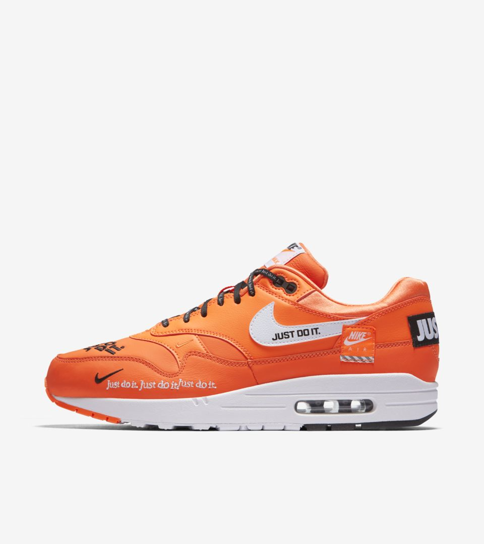 brand new 3ed22 17383 Nike Air Max 1 Just Do It Collection  Total Orange   White  Release Date.  Nike⁠+ SNKRS
