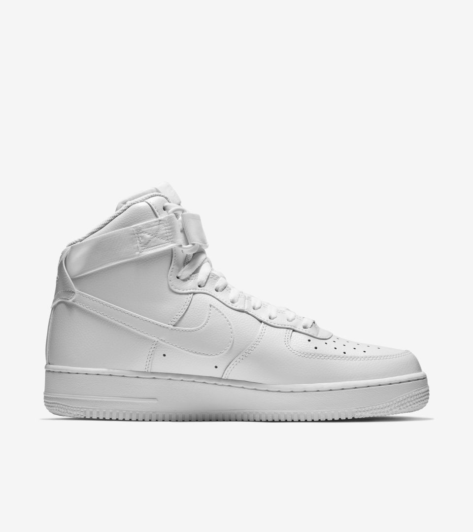 best sneakers d4033 dbfae Nike Air Force 1 High 'Triple White'. Nike+ SNKRS