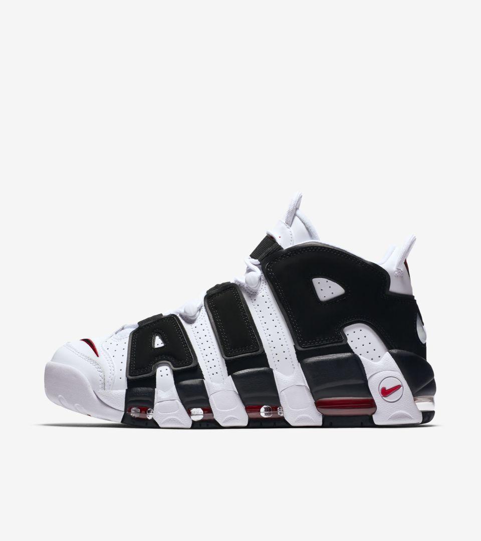 Nike Air more Uptempo 96 'White & University Red & Black'. Nike+ SNKRS