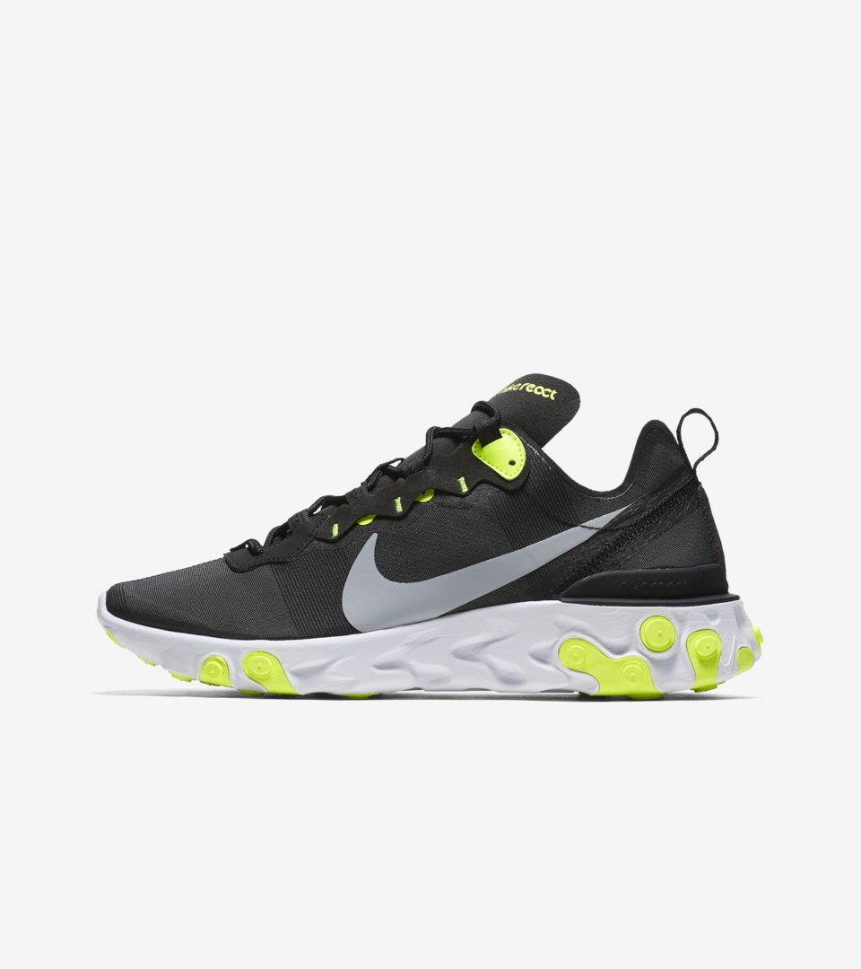 Nike React Element 55  Black   Volt  Release Date. Nike+ SNKRS b876b3eedc
