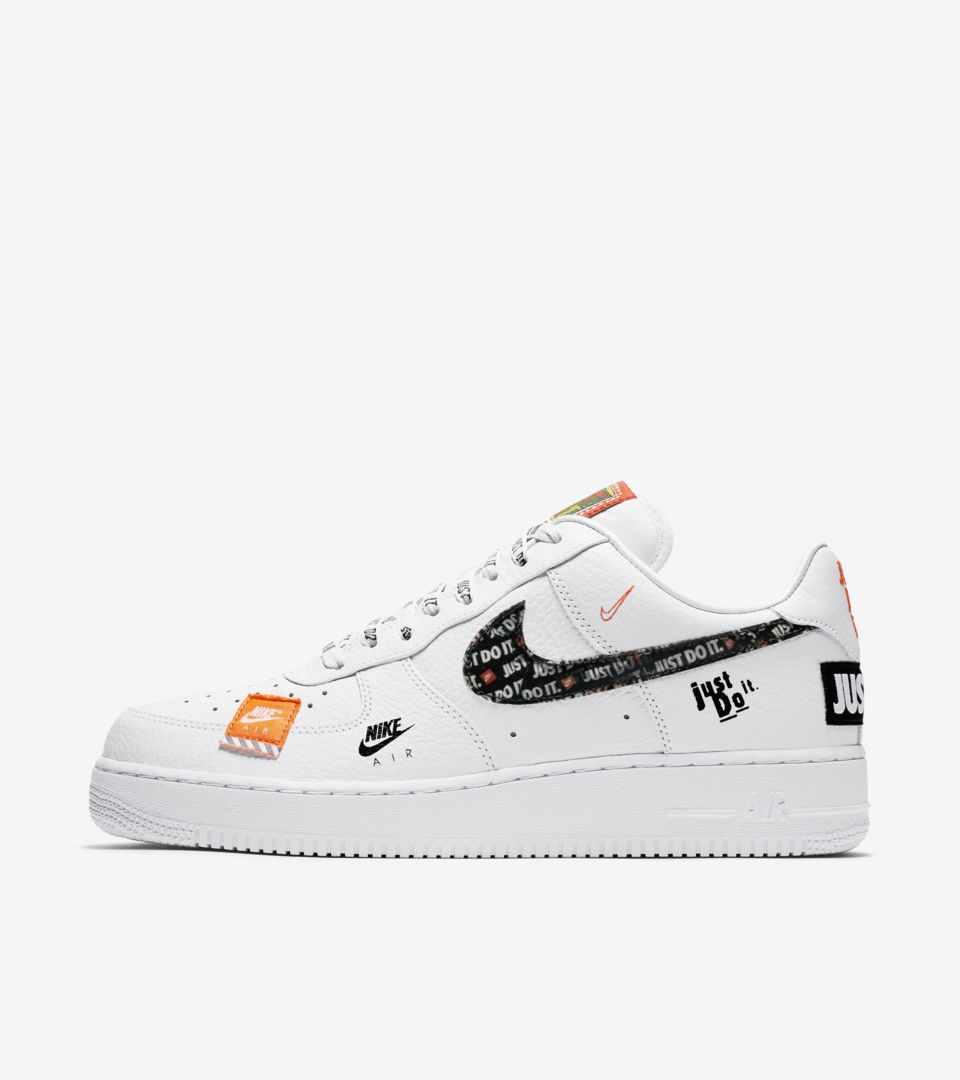 Nike Air Force 1 Premium Just Do It Collection  White   Total Orange ... c448f4b31d