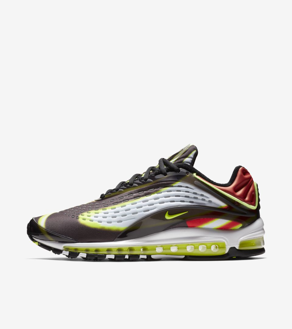 Nike Air Max Deluxe 'Black & Habanero Red & White & Volt' Release Date