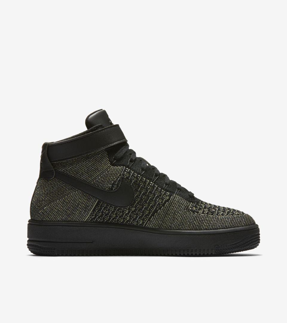 9e0f65c54dd98 Nike Air Force 1 Ultra Flyknit Mid  Black   Palm Green . Nike+ SNKRS