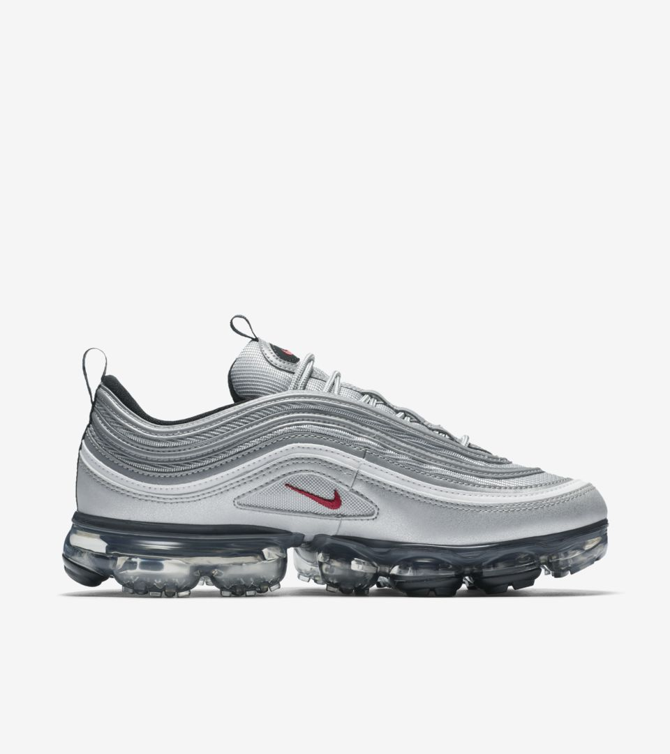 outlet store acf60 89b79 Nike Air Vapormax 97 'Metallic Silver & Varsity Red' Release ...