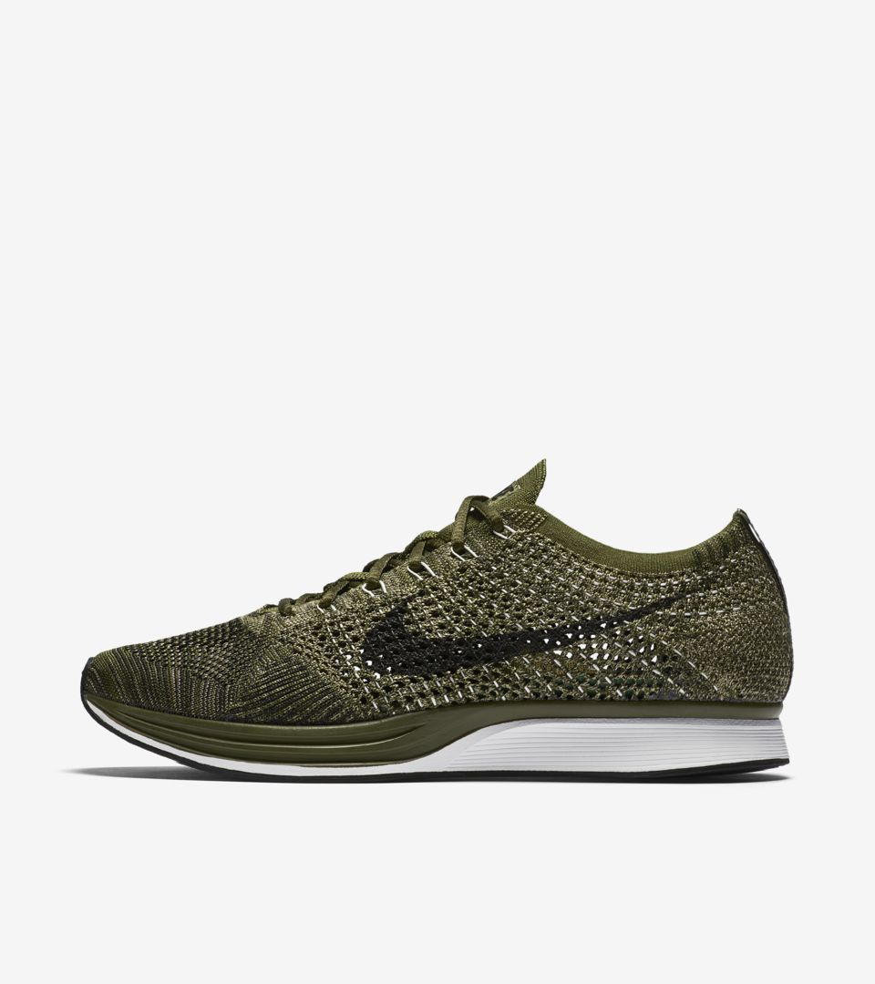 official photos c576b 0edd6 Nike Flyknit Racer  Rough Green . Nike⁠+ SNKRS