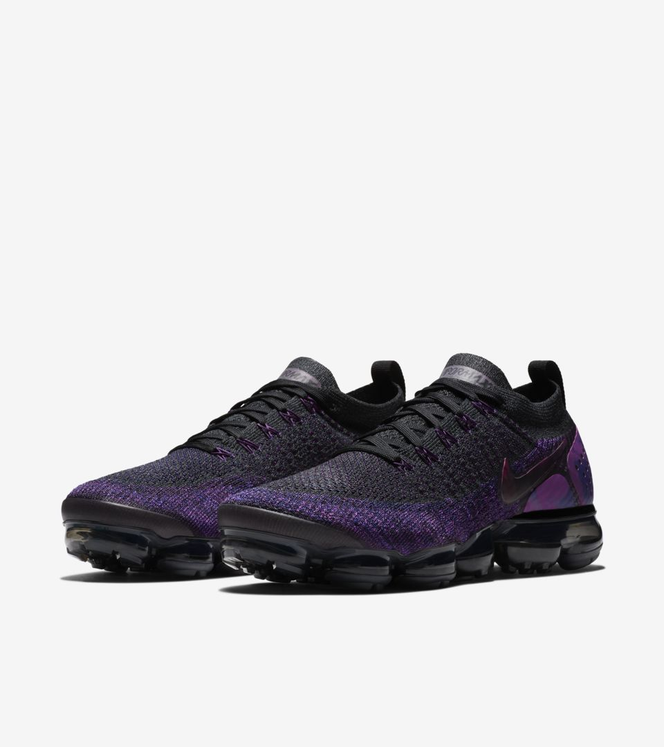 061bdf609fe9b ... Nike Air Vapormax Flyknit 2  Black   Vivid Purple   Night Purple   Release Date