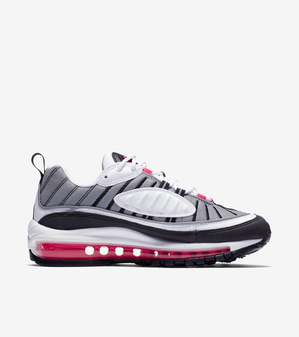 Nike Women s Air Max 98  White   Solar Red   Reflect Silver  Release ... 1d7d64493