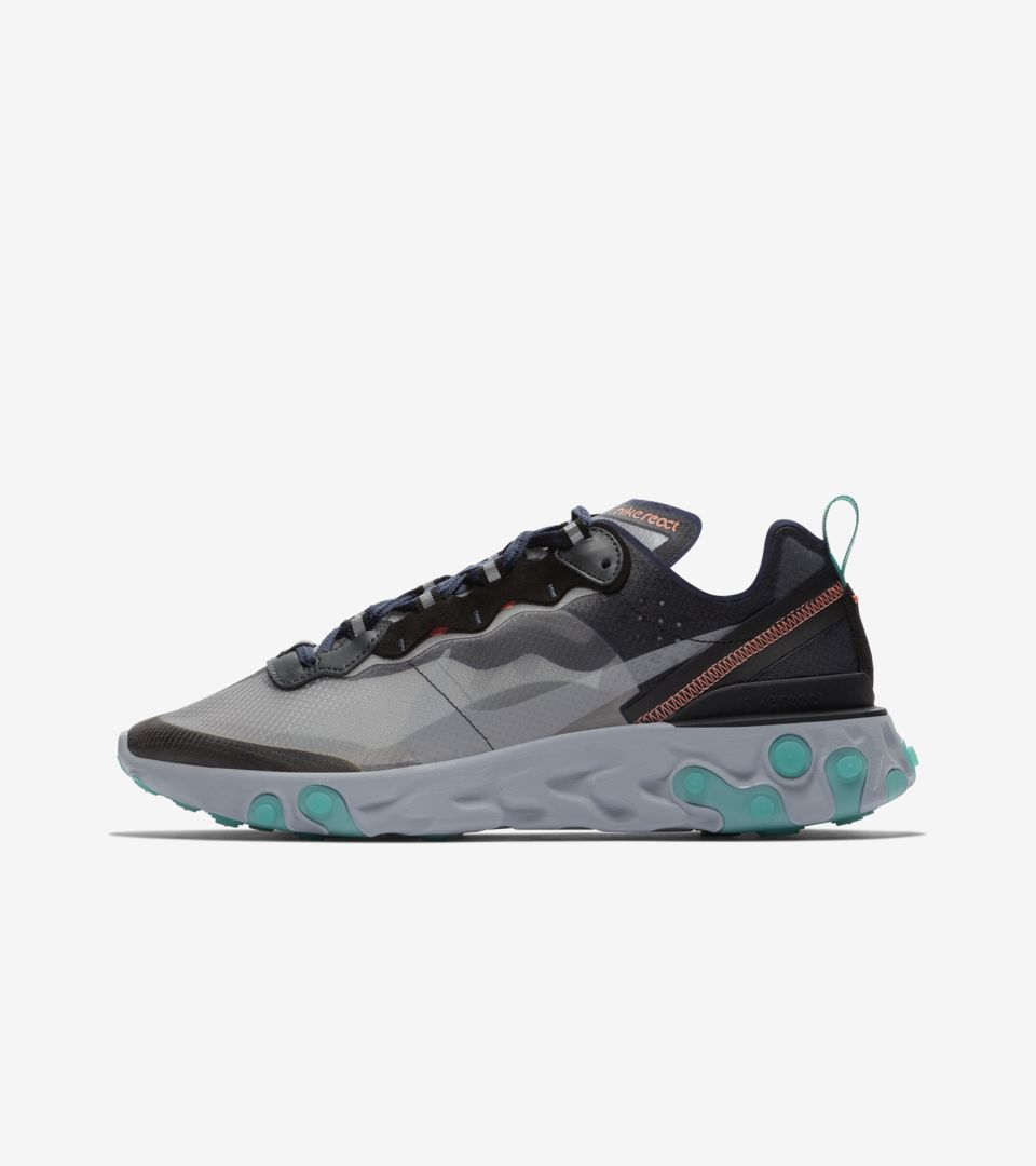 2078e7bf9460 Nike React Element 87  Neptune Green   Black   Bright Mango  Release ...