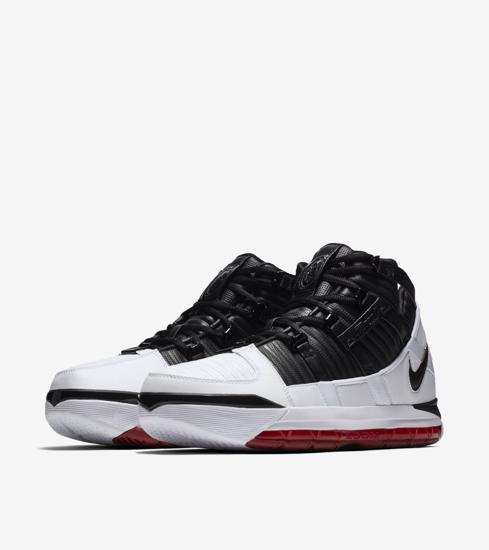 5f5cd1988dc Nike Zoom Lebron 3 Home  White   Varsity Crimson   Black  Release ...