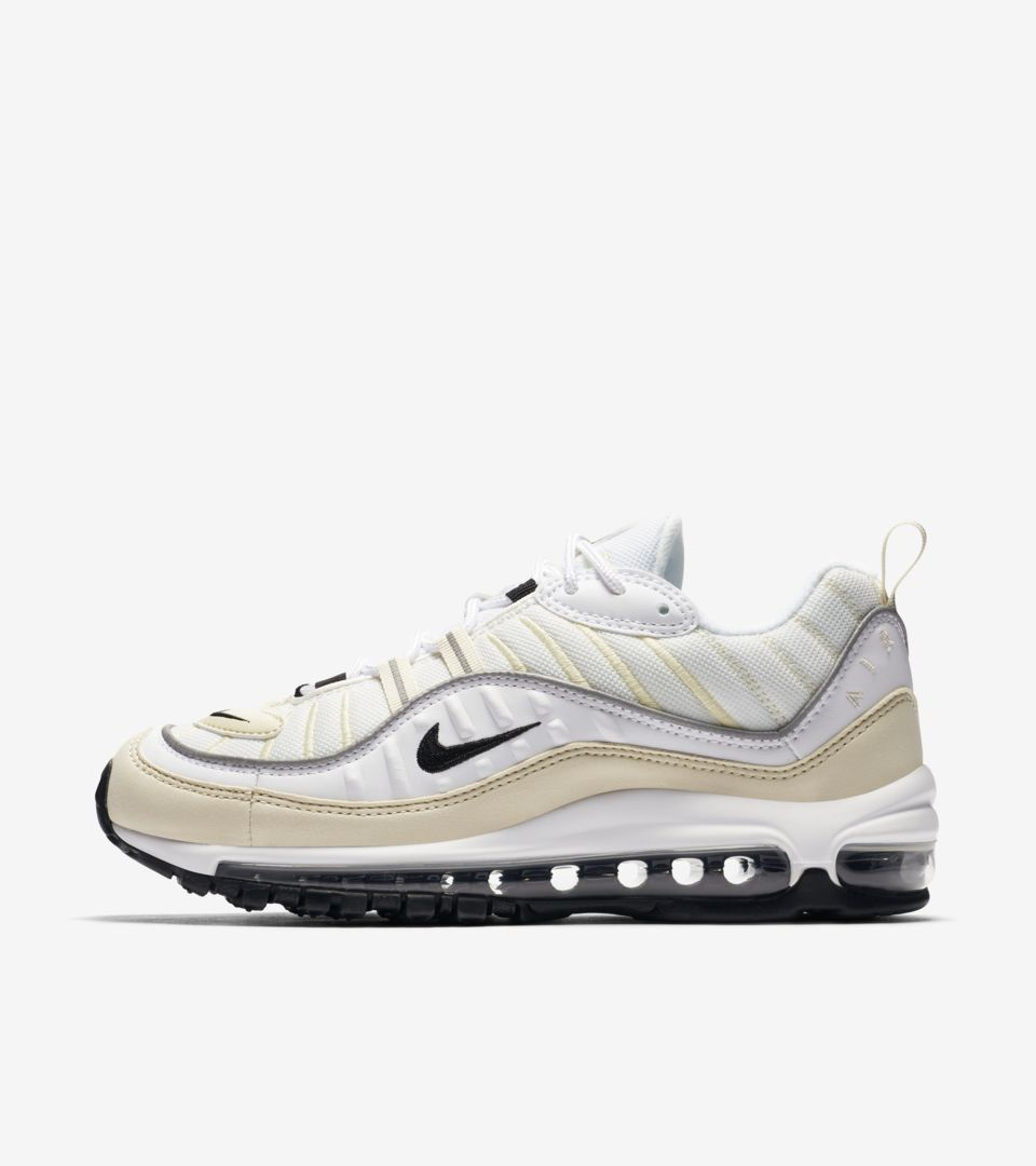 timeless design bff7e 39c75 Nike Women's Air Max 98 'White & Black & Fossil' Release ...