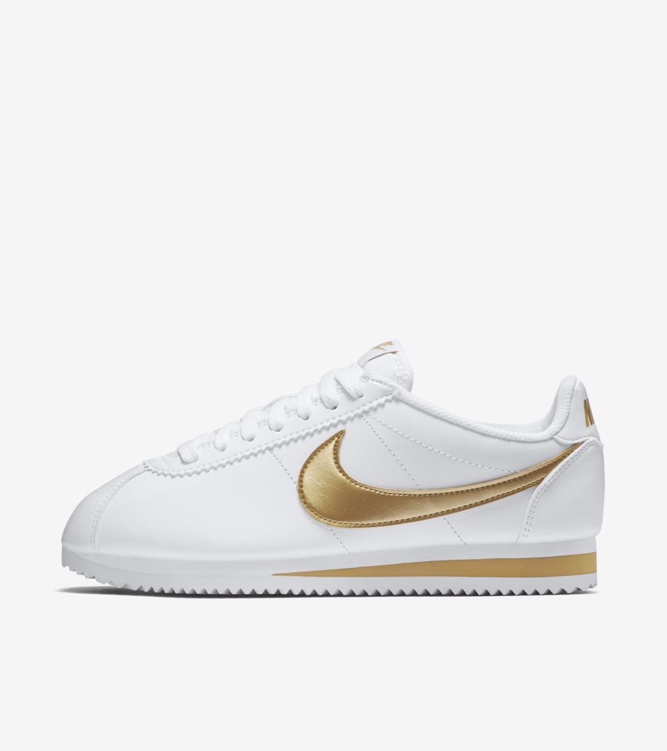 purchase cheap b2456 f46b4 Women's Nike Classic Cortez 'White & Metallic Gold'. Nike⁠+ ...